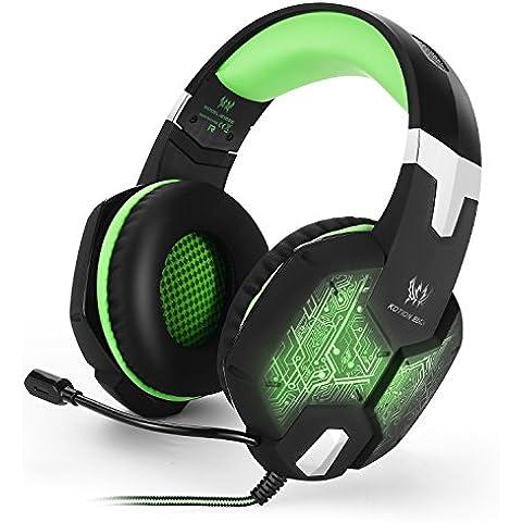 Cuffie Gaming, Wired PC Gaming Headset con Microfono mic 3.5mm Audio Plug Retroilluminazione Multi Colore Controllo del Volume e Tasto di Mute PC, Smartphone, Laptop, Ultrabook ecc