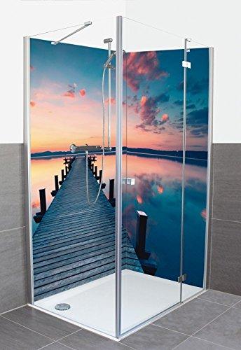 Artland Dusche Bad Rückwand Wandverkleidung aus Aluminium Verbund Platte Motiv Jenny Sturm Langer Pier am See im Sonnenaufgang Landschaften Gewässer See Fotografie Blau