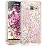 kwmobile Étui rigide coque pour Samsung Galaxy J3 (2016) DUOS avec du liquide - coque rigide couvercle de batterie étui coque de protection eau avec Design boule de neige étoile en rose clair transparent