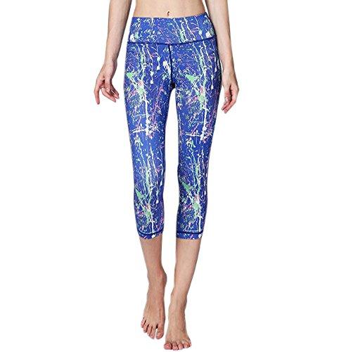 ECHERY Damen Sommer Printed Capri Cropped Leggings Flexible Fitness Sport Yoga-Tights Pants Floral Blau XL (Pants Cropped Floral Capri)