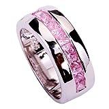 Yazilind 2mm * 3mm Princess Cut Rosa Erstellt Topas Silber überzogen Größe 20 Ring