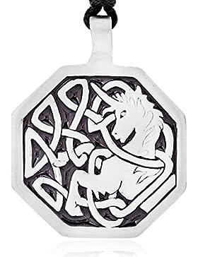 Llords Schmuck Halskette mit keltischem Einhorn Anhänger in irischem Knoten Design, feinster Zinn Metall Modeschmuck