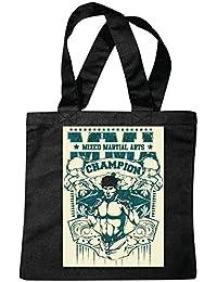 "Bolsillo Bolso Bolsa ""CHAMPION MMA ARTE material mezclado Fightclub lucha de la calle de karate Boxeo Kick Boxing JUDO"" Bolsa de deporte Bolsas de Negro"