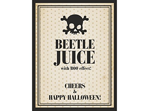 10 x Halloween Beetle Juice Flaschenettiketten -