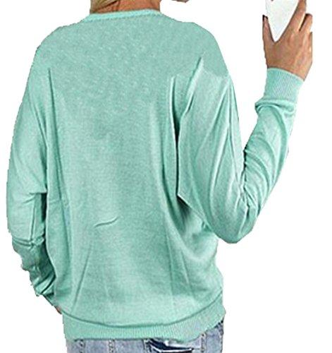 Monika Femme Mode Chemisiers Sweat-shirts Haut Blouse Manches Longues Col V à Zippé Casual Tops T-Shirt Bleu
