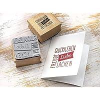 Stempel Liebe Glück Leben Glücksstempel für DIY Grußkarte Glückwunsch Papierdesign Hochzeit Geburt Geburtstag Typo