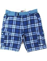 "LEE COOPER ""Cargo + Belt Gürtel"" homme 2-Pack shorts carreaux (bleu/bleu foncé/navy)"