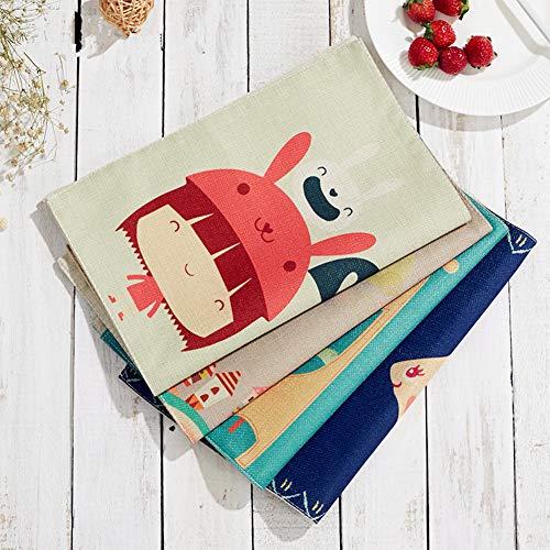 Kuke tovagliette americana in cotone con tasca del fumetto lavabili tovagliette per bambini, cotone (4 pezzi) (#2)