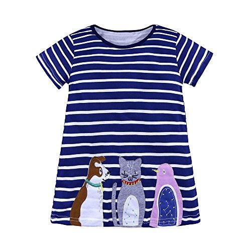 Giulogre Enfant Bébé Fille Mignon Cartoon Animale Rayures Robe Tutu Robe Jupe Courte Casual Ensemble pour 18 Mois - 6 Ans Enfant