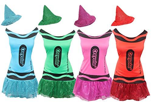 ILOVEFANCYDRESS Conjunto DE 4 Vestidos DE Lapiz DE Color Rosa, Azul, Rojo, Verde Todos TAMAÑO Unico para Adultos