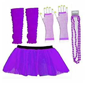 Four Peice Adult Tutu Set Neon Purple Tutu Legwarmers Fishnet Gloves Beads 80s Fancy Dress Costume (RB Fashions Clothing)