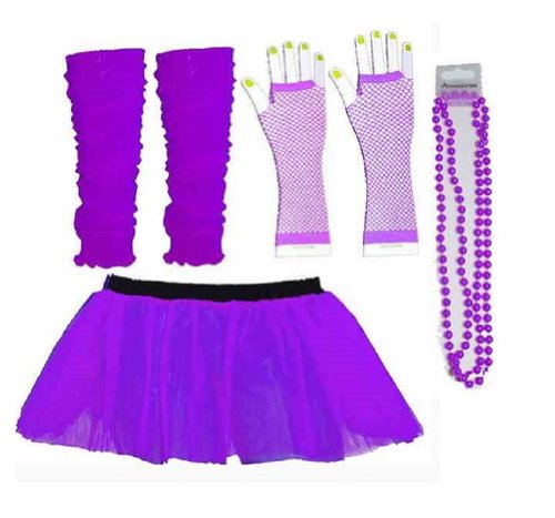 Four Piece Purple Tutu and Accessories Set for Adults for 80s Fancy Dress. Stanfard size