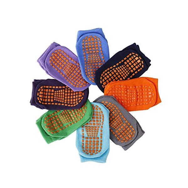 MaoXinTek Calcetines Antideslizantes para Niños Pequeños Algodón Lindo con Puños, Calentar 8 Pares de Zapatillas… 1