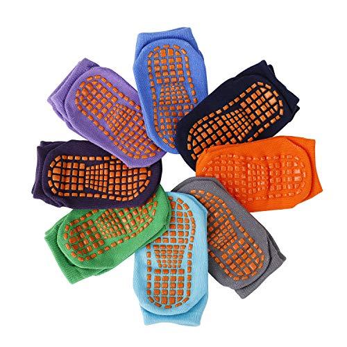 Calcetines Antideslizantes para Niños Pequeños Algodón Lindo con Puños, Calentar 8 Pares...