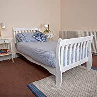 Wido White Wooden Single Bed With Ornamental Frame Bedroom Furniture
