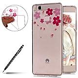 Uposao Kompatibel mit Hülle Huawei P9 Lite Silikon Handyhüllen Schöne Blumen Muster Durchsichtige Ultradünn Schutzhülle Transparent Silikon Bumper Clear Backcover,Blume Blütenblatt