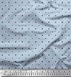 Soimoi Blau Seide Stoff Quadrat Hemdenstoff Stoff Meterware
