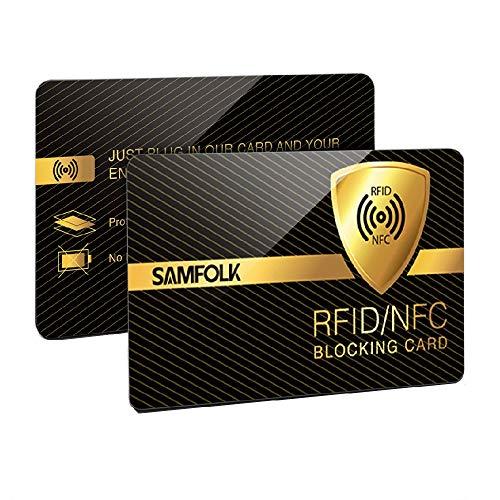 2PCS Cartes Anti RFID/ NFC Protection de Carte Bancaire de Crédit Sans Contact, Samfolk RFID Blocker Protège Portefeuille et Données Privées des Pickpockets Numériques