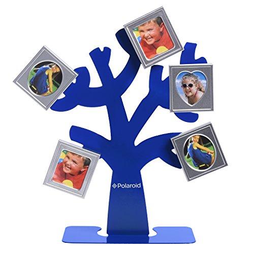 Polaroid Cornice a forma di albero genealogico - Albero con supporto e 5 mini cornici magnetiche (blu) per carta fotografica Zink 2x3 (Snap, Zip, Z2300) - Mini Cornice Di Nozze