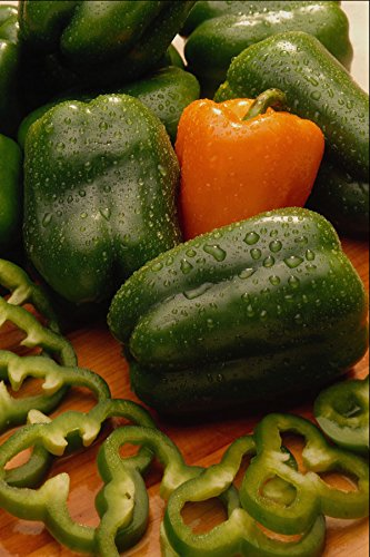 675042 Fresh Orange And Green Bell Peppers A4 Photo Poster Print 10x8