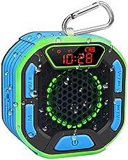 BassPal Draagbare bluetooth-douche-luidspreker, IPX7 waterdichte luidspreker met luid geluid, led-display, kar