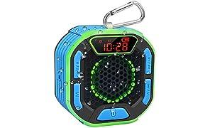 BassPal Enceinte Bluetooth Portable de Douche, Haut Parleur Étanche IPX7 avec son Puissant, Écran LED, Mousqueton, Spectacle de Lumière, TWS, Bluetooth Speaker pour Plage, Piscine, Maison, Fête
