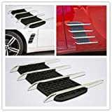 #8: Auto Surfer Decorative 4 Chrome Duct Racing Side Vent Grill Black For Maruti WagonR Stingray