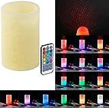 Lunartec LED Projektor Kerze: Echtwachskerze mit Farbwechsel-LED und Laser-Projektor, Fernbedienung (LED Kerze Sternenlicht)