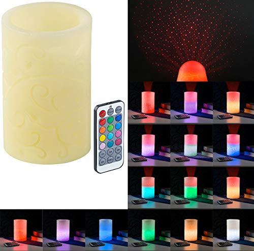 Lunartec LED Projektor Kerze: Echtwachskerze mit Farbwechsel-LED und Laser-Projektor, Fernbedienung (LED Kerze Sternenhimmel) 1 Led-laser