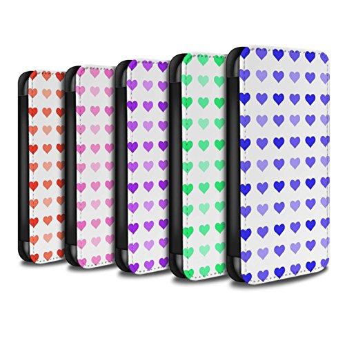 Stuff4 Coque/Etui/Housse Cuir PU Case/Cover pour Apple iPhone X/10 / Violet Design / Coeur Amour Pochoir Collection Pack 5pcs