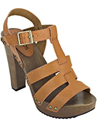 Estatos Pattern Leather Open Toe Buckle Closure Block Wooden Heel Brown Gladiator Sandals For Women