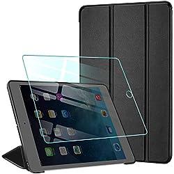 AROYI Coque pour iPad Mini 1 2 3 Tablettes + Verre Trempé, Smart Case Cover Housse Étui de Protection Ultra Fin en Cuir PU avec Support Stand et Sommeil/Reveil Automatique pour iPad Mini 1 2 3, Noir
