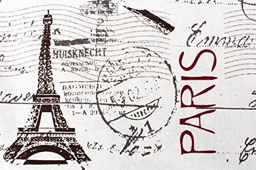 Kissenbezug Aikos 40x40cm Kissenhülle Shabby Vintage Paris Eifelturm Briefmarke French Chic Nostalgie Postkarte Frankreich Kissen alte Schrift Dekokissen - 2