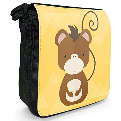 Animali, design moderno, colore: nero, Borsa a tracolla in tela, taglia: S Nero (Cheeky Monkey)
