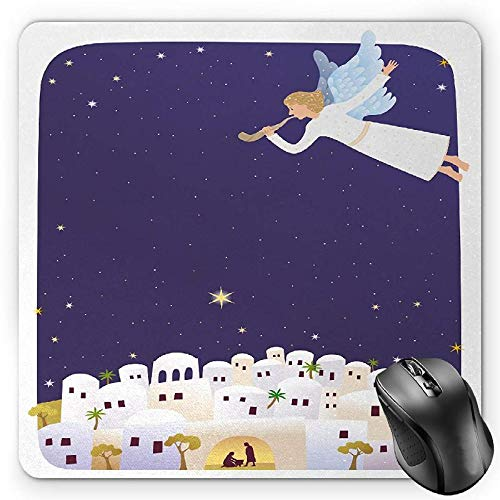 Preisvergleich Produktbild HYYCLS Religious Mauspads,  Religious Figure Themed Illustration Miraculous Event Starry Night,  Standard Size Rectangle Non-Slip Rubber Mousepad,  Purple White Mustard