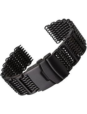 Hai Maschen Dive/Taucher H-Link Uhrenarmband von Geckota® aus Edelstahl in IP Schwarz, 20mm