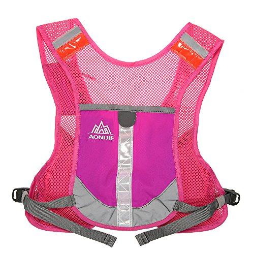 Imagen de aonijie  chaleco y  de hidratación ligero, para actividades al aire libre, senderismo, maratón, escalada, ciclismo, con 2 botellas de 250 ml , hot pink alternativa