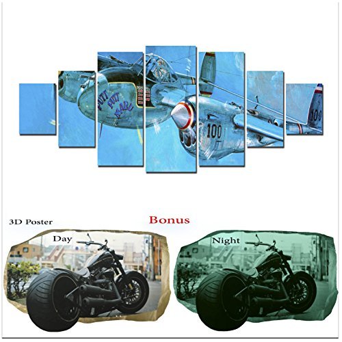 Grande décoration murale sur toile Bleu Startonight Bundle Jolly Planes, Big encadrée Peinture, cadeau gratuit Poster 3d Harley pour adolescents
