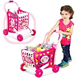 RIANZ All New 3 Different Position Shopping Cart With Sound & Lights On The Handle, Fruits & Vegetable - Total 29 Pcs (Color May Vary)