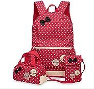 Three-piece backpack schoolbag fashion waterproof cute children girls handbag crossbody bag SHUB9 red