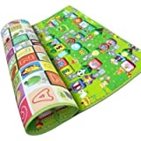 Kitchen Express Unique Double Sided Water Proof Baby Mat Carpet Baby Crawl Play Mat Kids Infant Crawling Play Mat Carpet Baby Gym Water Resistant, Set Of 1(Color And Design May Vary) 180 X 120cm