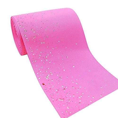 (SHINNY Glitter Solide Grosgrain Ribbon 5CM breit-DIY handgefertigtes Zubehör für Haar, mit Clip und Festival Geburtstag Hochzeit Braut-Dekoration Glitter Hot Pink)