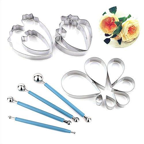 7 pcs rose Petal Cutter und 4 PCS krautige Pfingstrose Cutter, 4 PCS Metall Ball Fondant-Kuchen Dekoration Fondant Blumen Form - Petal Rose Cutter