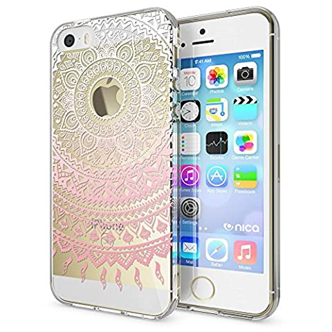 iPhone SE 5 5S Coque Protection de NICA, Housse Motif Silicone Portable Premium Case Cover Transparente, Ultra-Fine Souple Gel Bumper Etui pour Apple iPhone 5 5S SE, Designs:Mandala Pink Rose