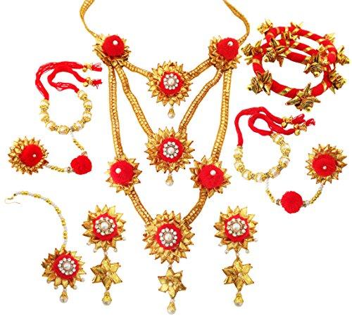BLENT#63 Traditional Beautiful Red Gota Patti Fabric Jewellery Set for Women/Girls/Kids/Bride/Wedding/Haldi/Mehndi (Full)...