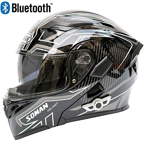 Casco elegante modular Bluetooth motocicleta visor