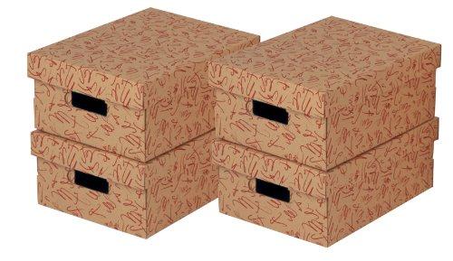 NIPS 110091408 ECO line GRAFO Aufbewahrungsboxen, B 27,0 x T 36,0 x H 15,0 cm, 4er Packung, rot/braun