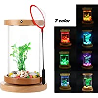 KOBWA Fish Tank MiniBow Iluminación LED Escritorio Hogar 360 Grados Rotación Cuencos de Peces Luz Nocturna Pequeña