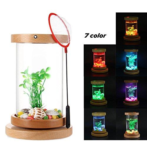KOBWA Tanque de escritorio con 7 colores para acuario, luces LED para escritorio, botella, regalo creativo, para oficina, escritorio, decoración, recargable, giratorio, pecera con base y red