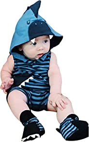 🌸Hot!! Newborn Baby Girl Boy Hooded Striped Romper MS-SM Infant Kids Sleeveless Fashion 3D Cartoon Shark Cotton Jumpsuit Ou